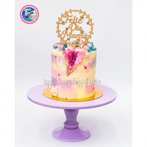 Geode watercolor cake